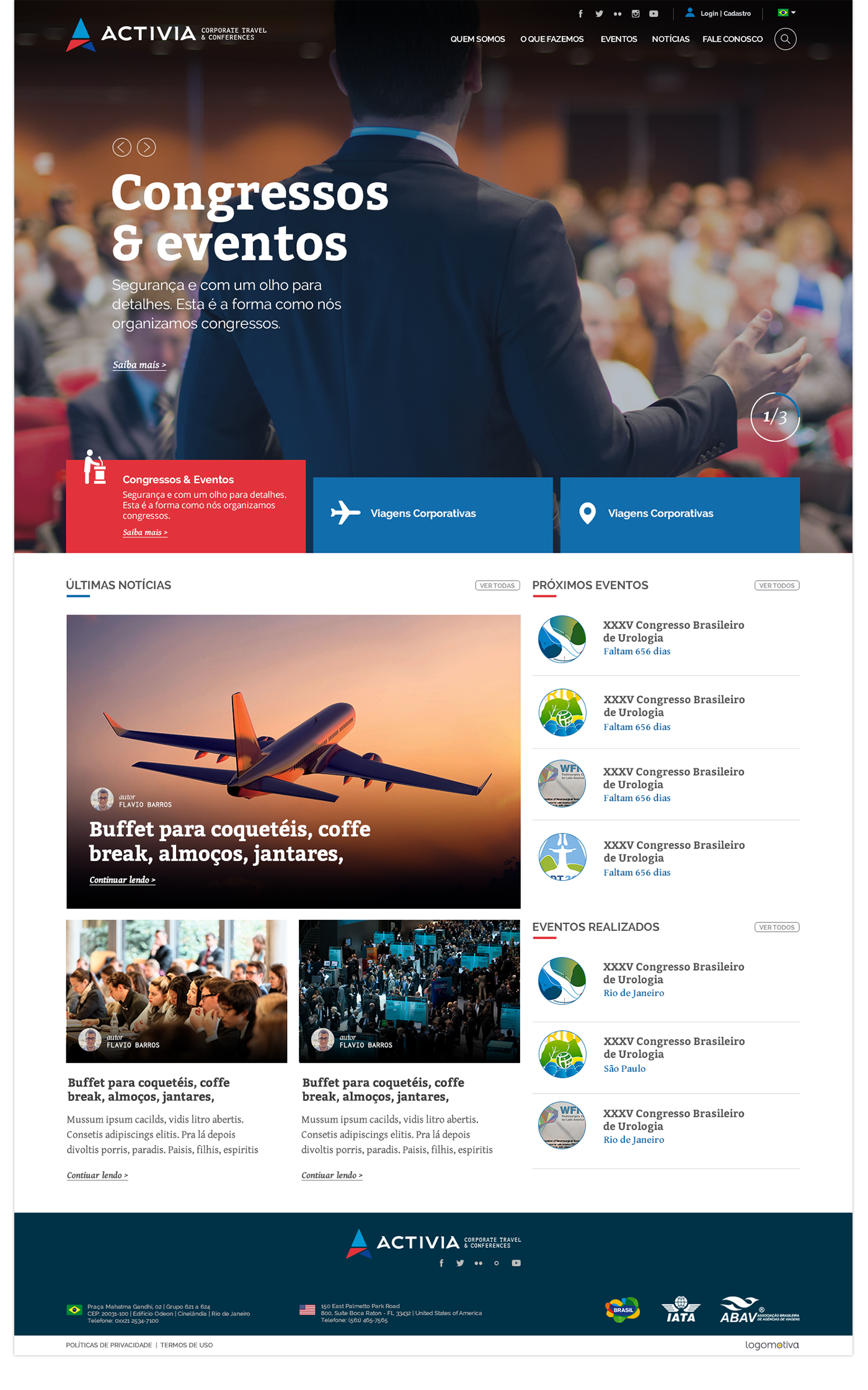Website Institucional | Activia Conferences & Corporate Travel - Desenvolvimento Drupal - Layout Responsivo